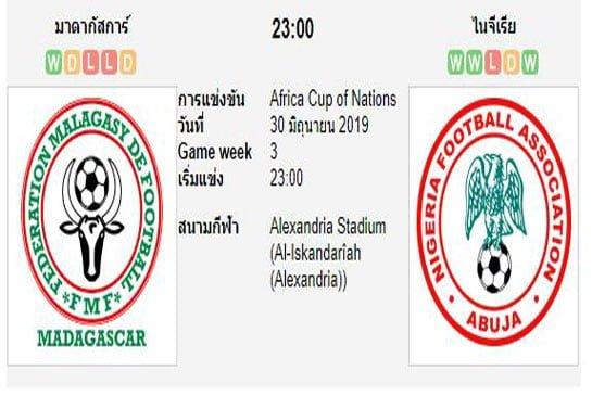 ทีเด็ดฟุตบอล แอฟริกัน เนชั่นส์คัพ [108]มาดากัสการ์ (+0.5) ไนจีเรีย[46]