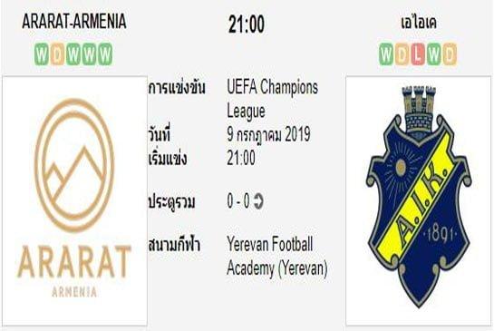 ทีเด็ดฟุตบอล ยูฟ่า แชมเปี้ยนส์ลีก [D1-1]อรารัต อาร์เมเนีย (+0.5/1) เอไอเค โซลน่า[D1-2]