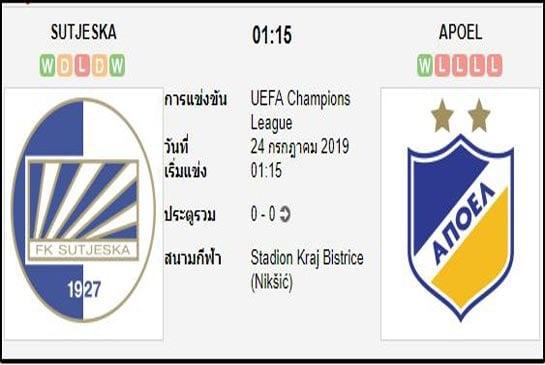 ทีเด็ดฟุตบอล ยูฟ่า แชมเปี้ยนส์ลีก [D1-1]ซูตเยสก้า นิคซิค (+1) อโปเอล นิโคเซีย[D1-1]