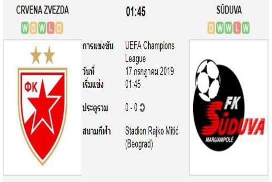 ทีเด็ดฟุตบอล ยูฟ่า แชมเปี้ยนส์ลีก [D1-1]เซอร์เวน่า ซเวซด้า (-2) ซูดูว่า[D1-1]