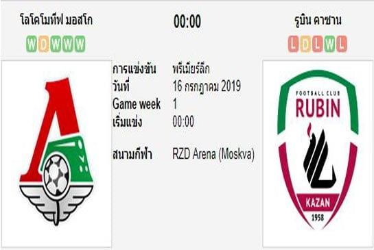 ทีเด็ดฟุตบอล รัสเซีย พรีเมียร์ลีก โลโคโมทีฟ มอสโก (-1) รูบิน คาซาน
