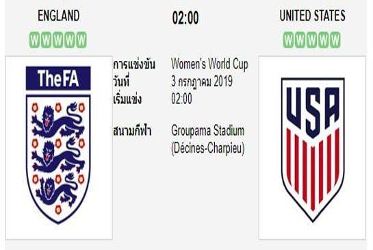 ทีเด็ดฟุตบอล ฟุตบอลหญิง ชิงแชมป์โลก [3]อังกฤษW (-0.5) สหรัฐอเมริกาW[1]