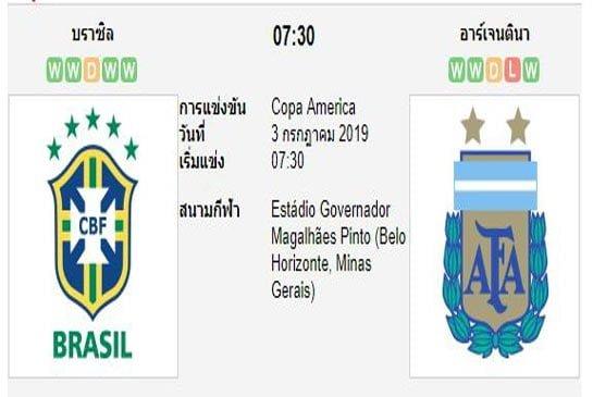 ทีเด็ดฟุตบอล โคปา อเมริกา [3]บราซิล (-0.5) อาร์เจนติน่า[12]