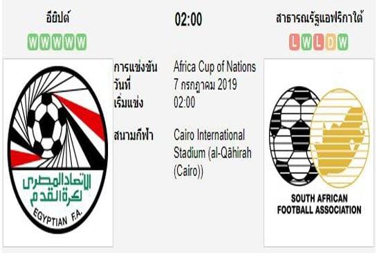 ทีเด็ดฟุตบอล แอฟริกัน เนชั่นส์คัพ [58]อียิปต์ (-0.5/1) แอฟริกาใต้[72]