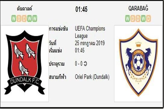 ทีเด็ดฟุตบอล ยูฟ่า แชมเปี้ยนส์ลีก [PR-1]ดันดาล์ค (+0/0.5) คาราบัค[D1-1]