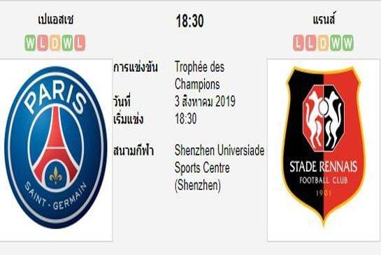 ทีเด็ดฟุตบอล ฝรั่งเศส ซุปเปอร์คัพ ปารีส แซงต์ แชร์กแมง (-1.5/2) แรนส์